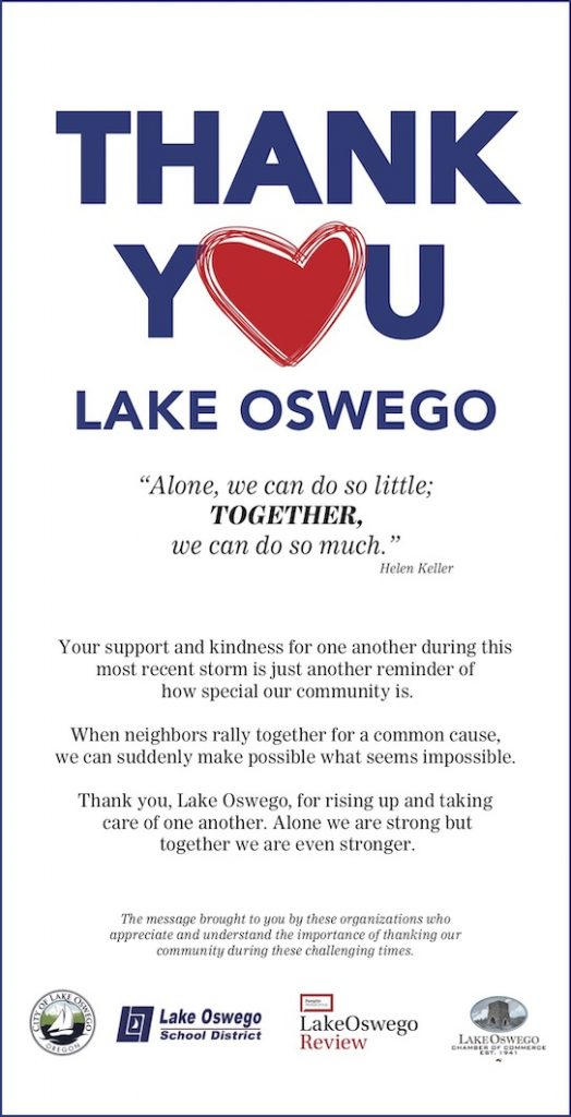 Thank You Lake Oswego